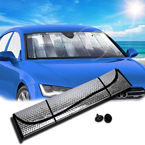 Zento Deals Silver Accordion Sunshade Car Windshield Sun Shade Reflector