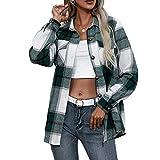 Pabuyafa Chaqueta de manga larga a cuadros para mujer, blusa de lana abotonada con solapa, blusa de lana para abrigo, informal, con bolsillo, verde, M