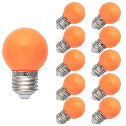 10 Stück E27 Farbig LED Leuchtmittel Birnenform Bunt Tropfenlampe Glühbirnen Biergartenlichterkette Partybeleuchtung Orange