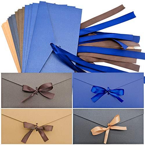 20 Stück Kraftpapier Umschläge, Retro Kraftpapier Vintage, Vintage Kraft Briefumschläge, Banddesign macht den Umschlag eleganter und edler