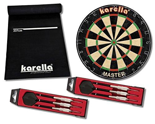 Karella Dart Starter-Set mit Dartboard, Dartmatte ECO-Star und 2 Dartpfeilsätzen ST-1