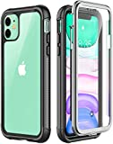 Temdan iPhone 11 Hülle, 360 Grad Armor Outdoor Transparent Stoßfest mit Eingebautem Bildschirmschutz Robust TPU Bumper Handyülle Schutzhülle für iPhone 11, 6,1 Zoll 2019 (Schwarz+Klar)