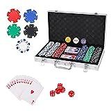 PLAYWUS Casino Poker Chip Set,300PCS Poker Chips with Aluminum Case,11.5 Gram Chips for Texas Holdem Blackjack Gambling