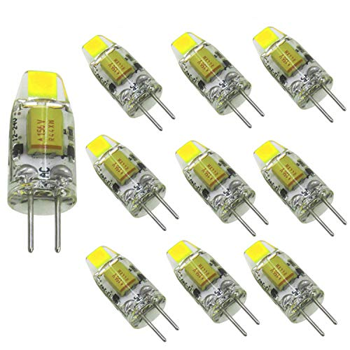 Aiyowei Lot de 10 pcs, Bi-pin Mini ampoule LED G4 12 V-24 V DC 1 W 100 Lumen COB 0705 SMD Silicone lampe Lustre Combinaison Cristal Transparent lampe de lecture Blanc 6000 K-6500 K