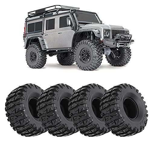 Neumáticos de Goma RC, Neumáticos de orugas RC Resistentes al Desgaste 4 Piezas Negro Durable para SCX10 / TRX4 / TRX6 1/10 RC Crawler
