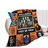 citari Halloween Throw Blanket Horror Movie Characters Collage Blanket for Couch Super Warm Soft Cozy Plush Fleece-Flannel Blanket for Kids Adults Orange and Black Blanket for Sofa Living Room 40'×50'