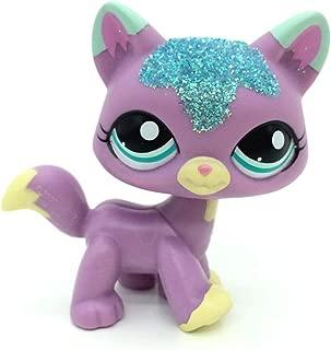 jjlin Mini Pet Shop Sparkle Glitter Purple Cat Kitty Blue Eyes Figure LPS #2386