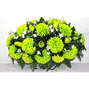 XL Spring Mixture Silk Flower Cemetery Tombstone Grave Saddle