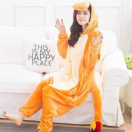 Einhorn Pyjama Jumpsuit Frauen Erwachsener Charmander Pajama Pokemon Cosplay Kigurumi Cute Animal Baby Body Flanell warme Winter Nachtwäsche Party-Fancy (Color : Charmander, Size : S)