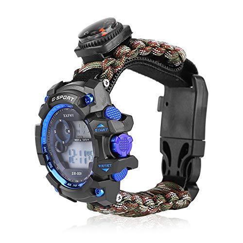 YUN MENG Reloj de supervivencia multifunción con pulsera brújula y silbato de paracaídas, resistente al agua al aire libre