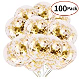 Gold Confetti Party Balloons 100 Pack 12' With Golden Paper Confetti Dots for Party Supplies Wedding Graduation Birthdays Bridal Shower …