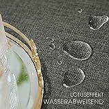 Tischdecke Abwaschbar Outdoor Gartentisch Terrasse Tischdecken Leinen Optik Wachstischdecke Wachstuch Größen Auswählbar Wasserabweisend Lotuseffekt Abwischbare Modern Dekoration 140x240 cm Dunkelgrau - 2