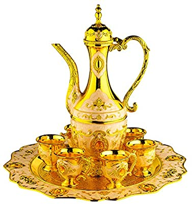 Vintage Turkish Coffee Pot Set for 6 including Tray & Teapot Silver Inserted with Swarovski Style Crystals (White)