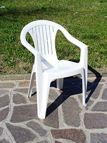 Justmoment Poltrona Sedia in PLASTICA Bianco 12PZ per Giardino ARREDO Esterno Interno