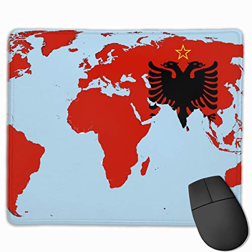 Albanian Flag On World Map Anti-Slip Personality Designs Gaming Mouse Pad Black Cloth Rectangle Mousepad Art Natural Rubber Mouse Mat with Stitched Edges 9.811.8 Inch