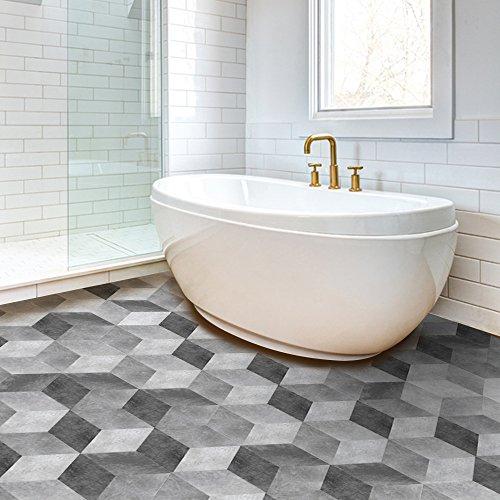 Sterrenhemel Muurstickers, vloerstickers, gradiënt grijs cement tegel patroon stijl, creatieve woondecoratie, badkamer, waterbestendig PVC