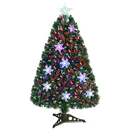 Goplus Pre-Lit Fiber Optic Artificial Christmas Tree, with Multicolor Led Lights and Snowflakes (3FT)