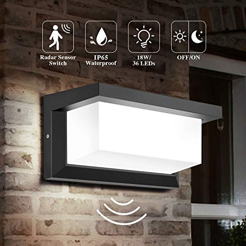 DECMAY lámpara de pared LED para exteriores, iluminación exterior de 18 vatios IP65, luz de control de inducción de radar cuadrada a prueba de agua para patio, balcón, taller de garaje (Blanco frio)