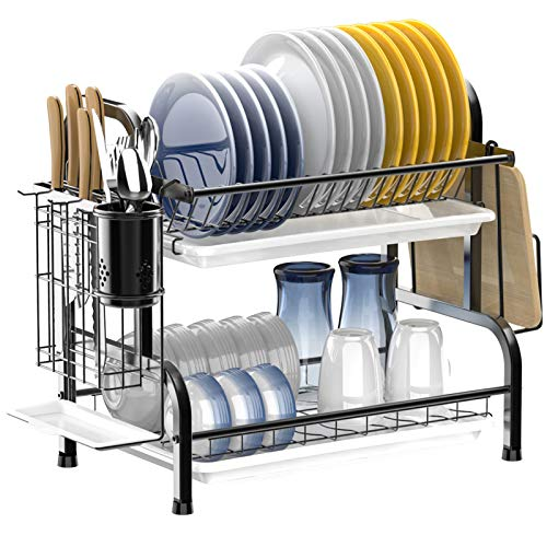 Dish Drying Rack,Ace Teah 2 Tier Dish Rack with Utensil Holder, Strainless Steel Dish Drainer,Black