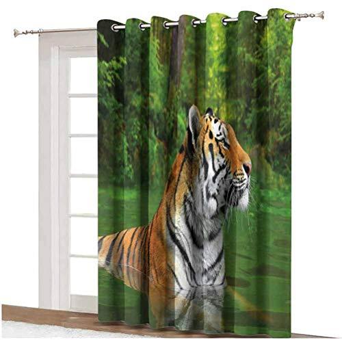 Cortina de ventana con diseño de tigre de Siberia, diseño de gato grande, color negro, a rayas, para nadar en el lago en el bosque