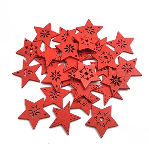 Milisten 50pcs Wooden Star Cutouts Christmas Tree Hanging Ornaments Embellishments Xmas Gift Tags for DIY Candy Box Holiday Tree Wedding Decor Red