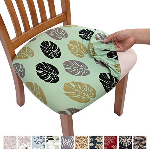 Comqualife Stretch Printed Dining Chair Seat Covers, Removable Washable Anti-Dust Upholstered Chair Seat Cover for Dining Room, Kitchen, Office (Set of 6, Green)