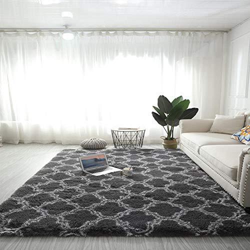 SDAFSA Teppich Hochflorlanges Haar Teppich Anti-Rutsch-Weich Teppich Muster Teppich Wohnzimmer Schlafzimmer Home Dekoration Tisch Bett Kissen Waschbare Teppiche-Grau_40X60Cm