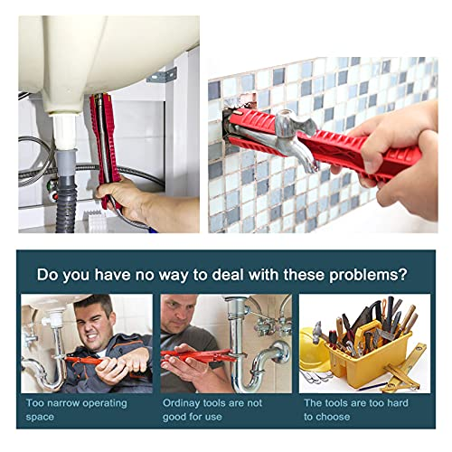 Basin Wrench Faucet And Sink Installer 8-In-1,Multi-Purpose Plumbing Tool Multifunctional Repair Installation Hand Tools For Toilet Bowl/Sink/Bathroom/Kitchen Plumbing Removal Protective gloves