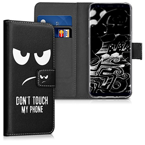 kwmobile Wallet Hülle kompatibel mit Samsung Galaxy S8 - Hülle Kunstleder mit Kartenfächern Stand Don't Touch My Phone Weiß Schwarz