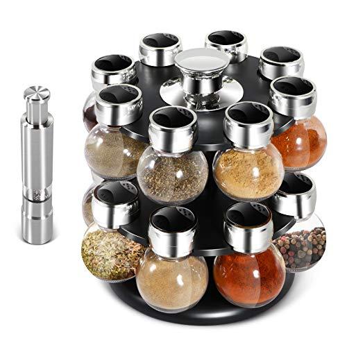 MASTERTOP 16 Jar Kitchen Spice Rack - Salt & Pepper Grinders 3 Oz Glass Jars Orbit Spice Rack Jars with 2 Tier Revolving Countertop Carousel Herb