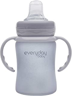 Everyday Spill-free Silicone Coated Extra light BPA Free Baby Glass Sippy Cup Shatter Protected water Bottle Quite Grey, 1...