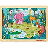 TOP BRIGHT 24 Pièces Puzzles pour Enfant de 3 Ans, Jigsaw Puzzles en Bois pour Garçon et Fille Agé de 4 à 8, Puzzle Animaux de Forêt