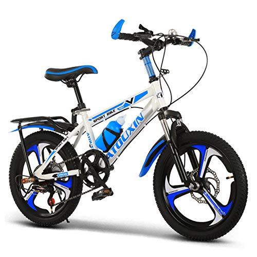 GZMUK Bicicleta para Niños 18 Pulgadas (20 Pulgadas/22 Pulgadas) Altura del Asiento Ajustable Bicicleta De Montaña con Freno De Disco,Blanco,20in