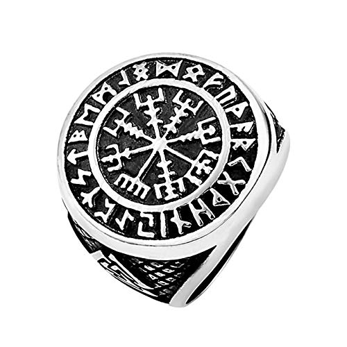 HHW Viking Compass Ring, Nordic Mysterious Rune Stainless Steel Ring Men's Vintage Style Amulet,Silver,9