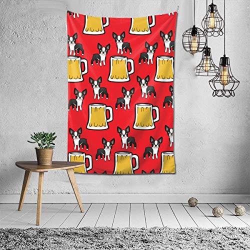 ZharkLI Decoración para pared, diseño psicodélico, manta de playa, tapiz indio de 106 x 152 cm, diseño de Boston Terriers con cerveza