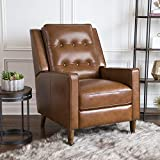 Abbyson Living Mid-Century Leather Pushback Reclining Furniture (Chair, Camel)