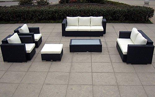 Baidani Gartenmöbel-Sets 10c00004.00002 Designer Lounge-Wohnlandschaft Daylight, 3-er Sofa, 2-er Sofa, 1 Hocker, 1 Couchtisch mit Glasplatte, 2 Sessel, Sitzauflagen, schwarz kaufen  Bild 1*