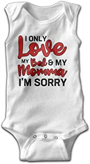 Unisex Cute I Only Love My Bed My Momma I'm Sorry Sleeveless Baby Bodysuits Newborn Infant Baby Clothes Size