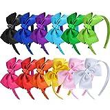SIQUK 12 Piezas Diademas con Lazo 12 Colores Niña Diademas de Cinta para Niña