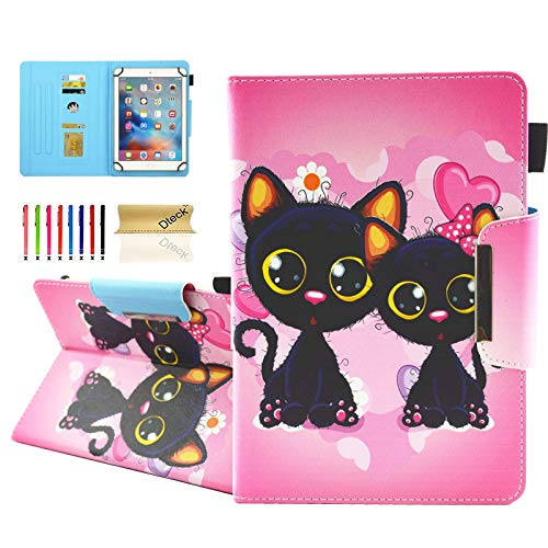 Dteck Folio Universal Case for 6.5-7.5 Inch Tablet - [Anti-Slip Stand] PU Leather Cute Wallet Case Cover for Samsung Tab/Kindle Fire 2019/LG G Pad/Lenovo Tab/Android 7.0 Inch 7' Tablet-Black Cats