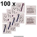 100 Zahni Tattoos - Zahnarzt Geschenke Tattoos für Mädchen und Jungen (100)