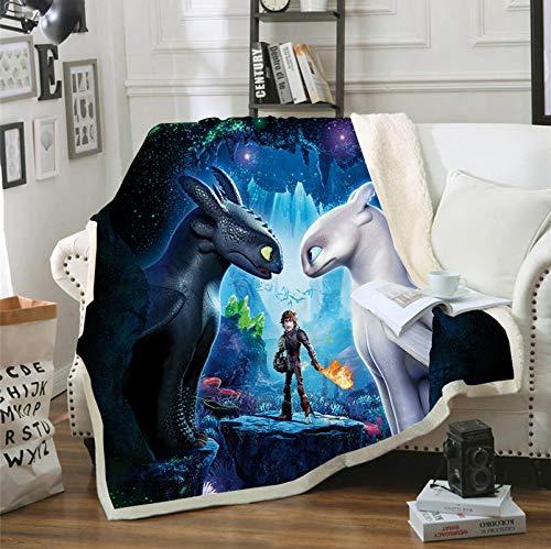 XFMF Kinderdecke How to Train Your Dragon,3D-Cartoon-Decke,100prozent Mikrofaser,Fleecedecke Sofadecke,3D-Digitaldruck,Mehrfarbig,Flauschige Decke (1,150 * 200cm)