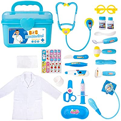 Durable Doctor Kit for Kids, 23 Pieces Pretend Play Educational Doctor Toys, Dentist Medical Kit with Stethoscope Doctor Role Play Costume, Doctor Set Toys for Toddler Boys Girls 3 4 5 6 7 8 Years Old by Liberry