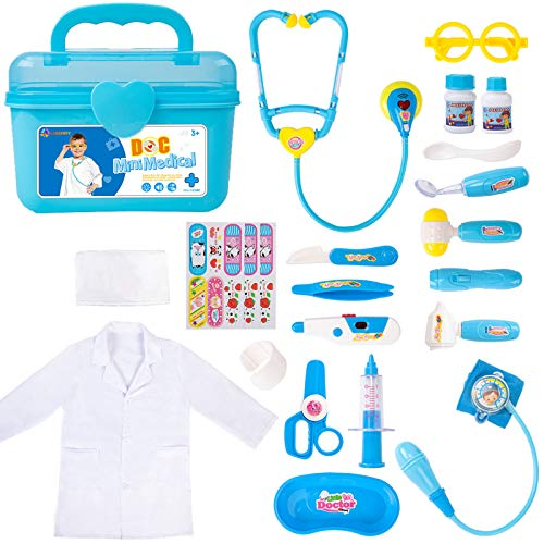 Durable Doctor Kit for Kids, 23 Pieces Pretend Play Educational Doctor Toys, Dentist Medical Kit with Stethoscope Doctor...