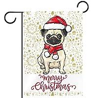 ホームガーデンフラッグ両面春夏庭屋外装飾 28x40in,サンタの帽子をかぶったパグ犬とメリークリスマス