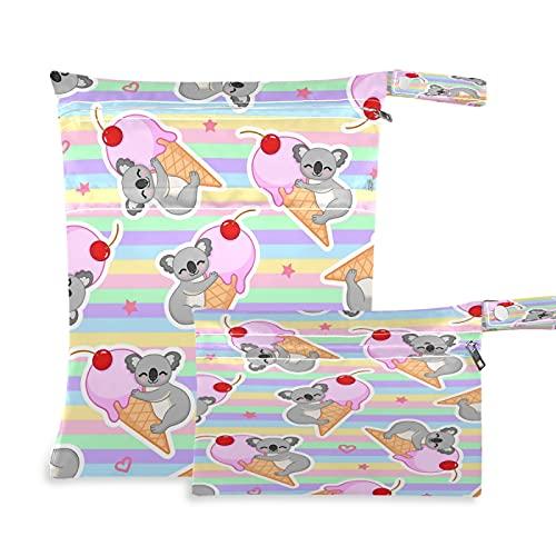 2 bolsas de tela para pañales húmedos, impermeables, con diseño de oso koala, con rayas de helado, reutilizables, lavables, para viajes, playa, yoga, gimnasio, para trajes de baño, ropa húmeda