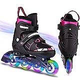 WeSkate Inline Skates Kinder/Erwachsene verstellbar mädchen/Jungen Inline Skates Rollschuhe PU...