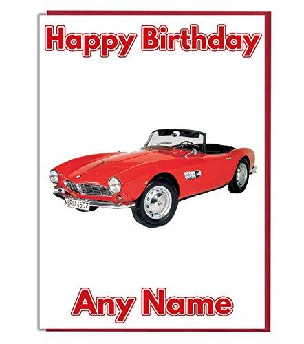 Classic Car Personalisierte Geburtstagskarte - Jeder Name und Alter Druck auf der Vorderseite