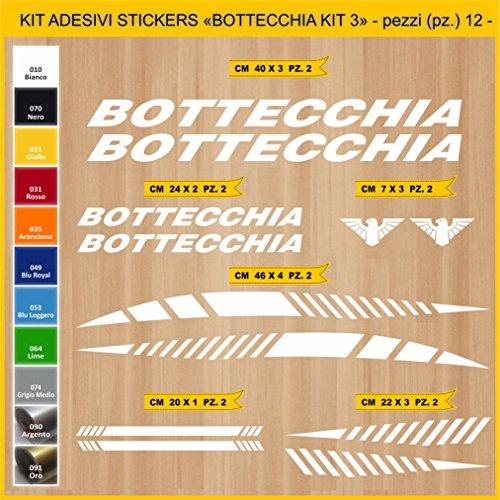 Adesivi Bici BOTTECCHIA_Kit 3_ Kit Adesivi Stickers 12 Pezzi -Scegli SUBITO Colore- Bike Cycle pegatina cod.0848 (010 Bianco)