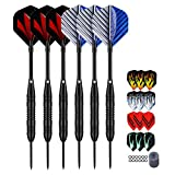 LARRITS Professional 6 Pack 23 Grams Steel Tip Darts Set with Black Aluminum Shafts, Include 9pcs Standard Flights + 9pcs Laser Flights + 12pcs Rubber Rings + Dart Sharpener and Storage Case